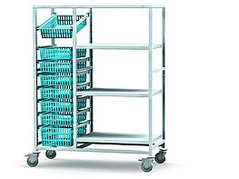 Storage and retrieval trolley with shelf compartment (3D-Darstellung)